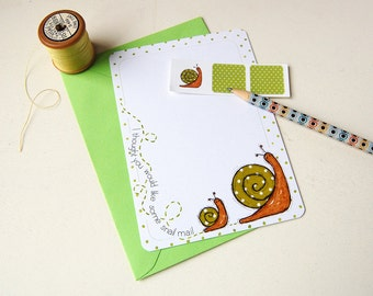 Snail Notecards - Spotty - Set of Six Postcards with Stickers - Quirky Stationery