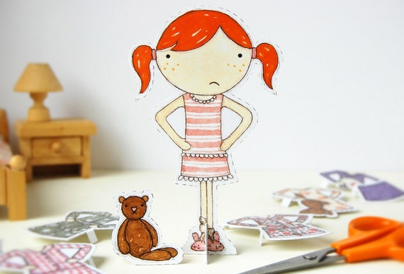 Clara Paper Doll, Dress-up Doll - The Bedtime Outfits - Postcard Paper Toy