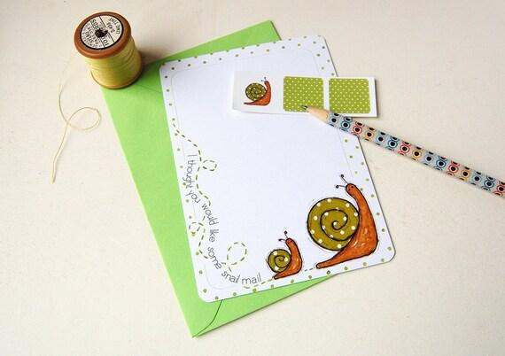 Snail Notecards - Spotty - Set of Six Postcards with Stickers