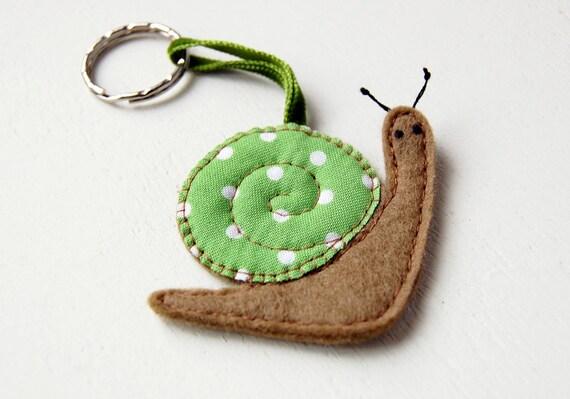 Snail Keyring - Hand Sewn, Wool Felt, Gift