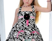 Girls Easter Flower Girl Birthday Tea Party Pink white Black Damask Twirl Dress Size 2T to 12 yrs - Manoir Anastasia