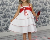 Girls Dress Wedding Easter Birthday White Red Custom layered twirl dress Size 2T to 12 yrs - Mademoiselle