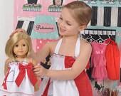 """American girl dress Paris doll dress Eiffel Tower dress white red blue dress 18"""" doll dress Little girl's gift birthday gift"""