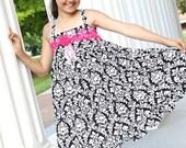 Black white pink formal dress, flower girl dress, birthday girl dress, tea party dress, damask dress, ruffled dress, twirl dress, tween girl