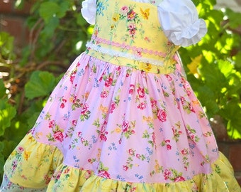 Pink yellow green Easter dress, birthday girl dress, twirl dress, ruffled dress, tea party dress, formal dress, floral dress RTS Size 6/7