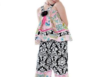 Manoir Zoe Custom Halter Top Capri Pants Damask Set size 12 months to 12 years HC