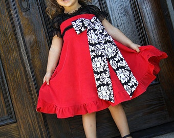 Girls dress Christmas holiday red black formal corduroy twirl dress Size 12 months to 12 years Bella Milano