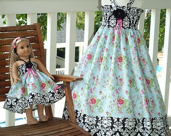 Girls dress birthday twirl dress tea party dress Easter dress blue pink black flower girl dress damask It's a Tea Party in Blue Size 2 to 12
