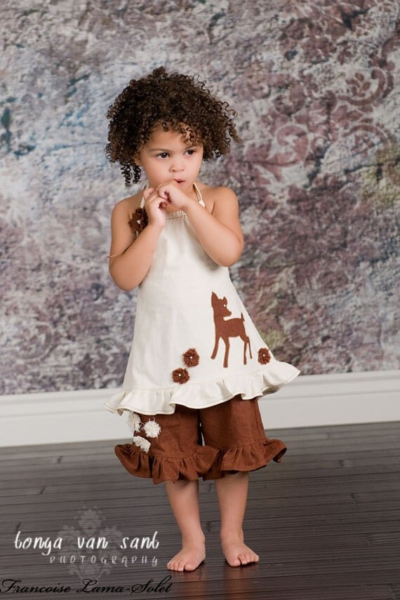 Organic natural Custom linen ivory brown halter top pants set size 2T to 10 yrs Nature Tail