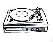 "record player linoleum block print - 9"" x 12"" wall art"