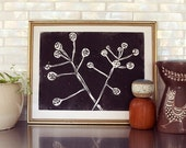 "branches linoleum block print - 11"" x 14"" wall art"