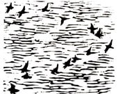 """v of birds linoleum block print - 9"""" x 12"""" wall art"""