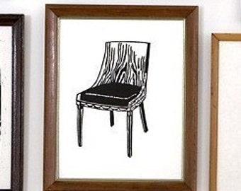 """wooden chair linoleum block print - 11"""" x 14"""" wall art"""