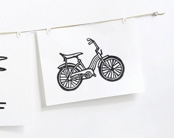 "bicycle linoleum block print - 11"" x 14"" wall art"