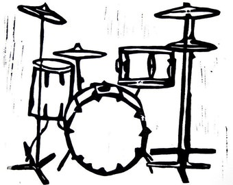 "drum kit linoleum block print - 11"" x 14"" wall art"