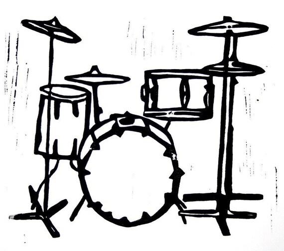 """drum kit linoleum block print - 11"""" x 14"""" wall art"""