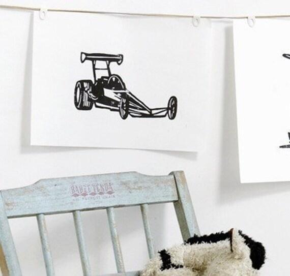 "vintage race car linoleum block print - 9"" x 12"" wall art"