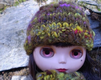 Sale Swamp Fairy scarf and hat set for Blythe