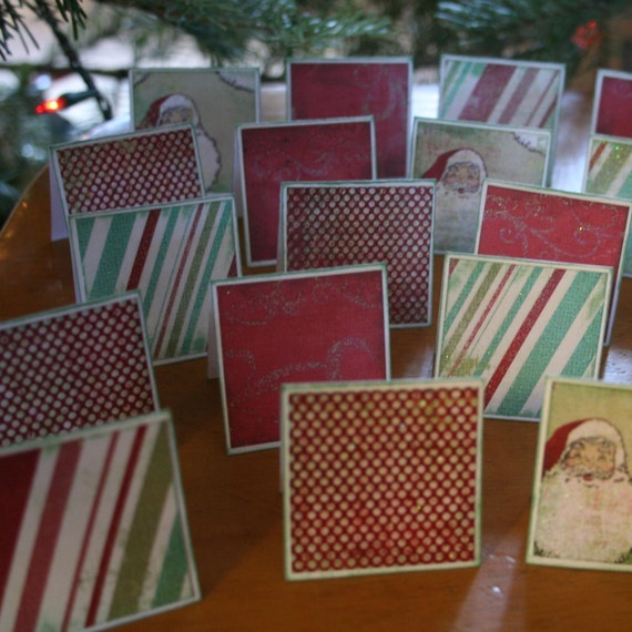 Santa Clause Dots And Stripes Note Cards / Gift Tags / Place Cards Set Of 24