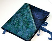 Composition Notebook Journal  Cover  Refillable -Washable - Blue Batik