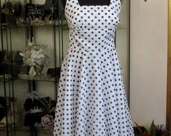 SALE navy and white voile flared dress  DOTTIE