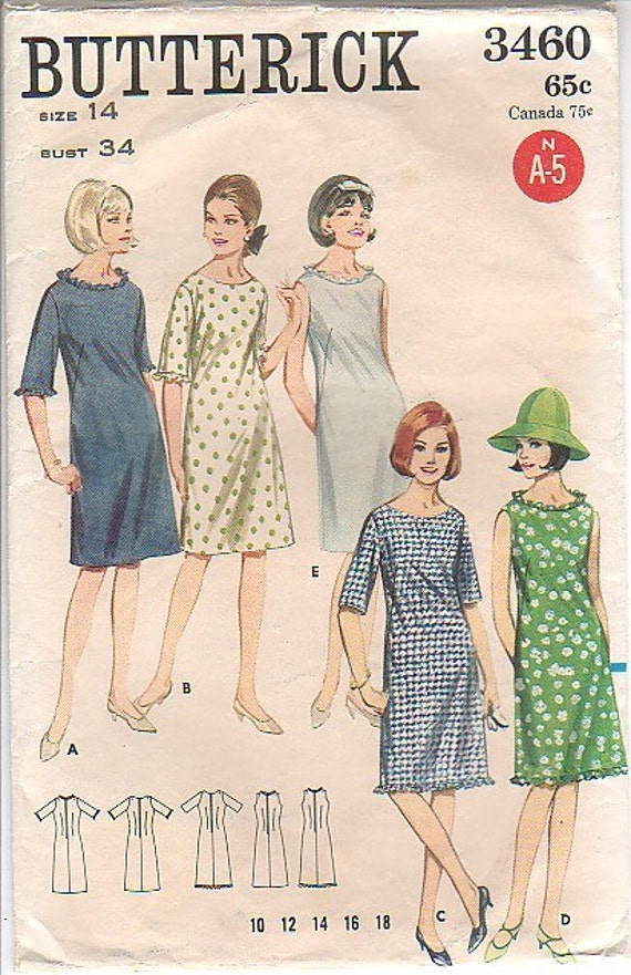 VINTAGE 1960s BUTTERICK 3460 SEWING PATTERN WOMENS EXTRA QUICK AND EASY ONE PIECE DRESS SIZE 14
