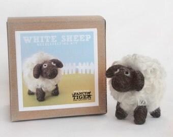 White Sheep Needle Felting Kit