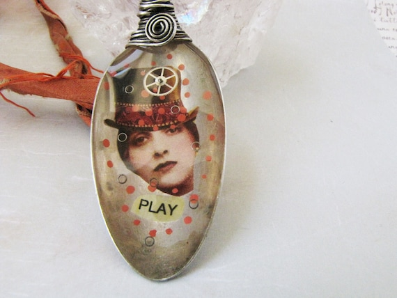 Resin Necklace Resin Collage Vintage Spoon  Sterling Silver Pendant Sari Silk Necklace