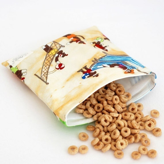 Sock Monkey at the Beach - MamaMade Eco-Friendly Reusable Sandwich Bag