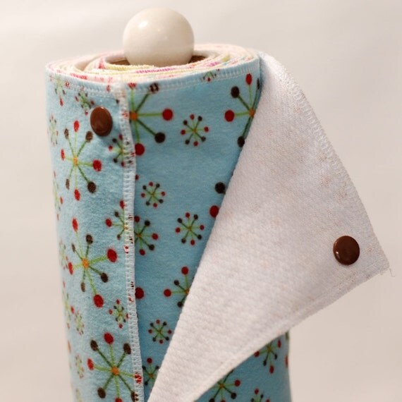 Reusable, Eco Friendly Snapping Paper Towel Set - Jacks - Flannel and Birdseye