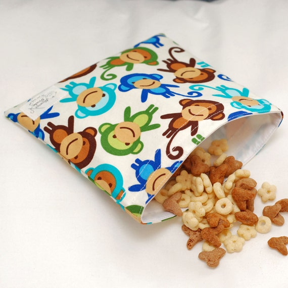 Monkey Blues - green by mamamade Eco-Friendly Reusable Sandwich Bag