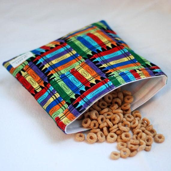 Crayon Box - Medium Reusable Sandwich Bag from green by mamamade