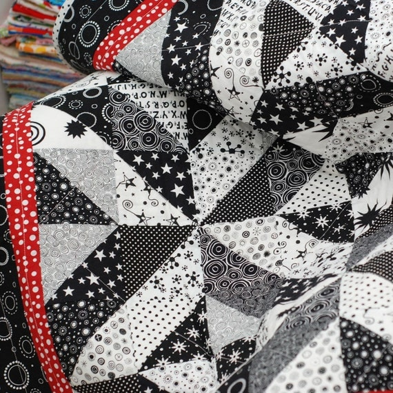 Black White And Red Baby Quilt Minkee Backing