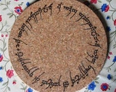 Potholder - pyrographed cork with elvish inscription