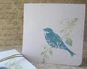 BIRD on Branch Mini Note Card Set of 5 Blue Green