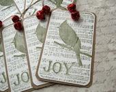Christmas Gift Tags Bird & Jingle Bells Set/6 Ornaments Kraft Green Red