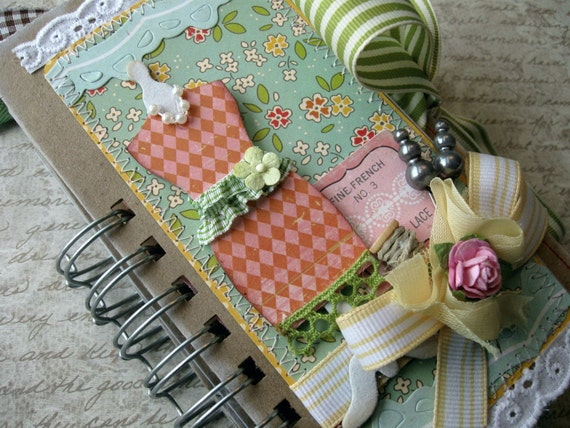 Paper Bag Album Journal Vintage Inspired OOAK Simple Pleasures Mini Scrapbook