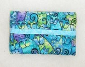 Tissue Holder Quilted - Laurel Burch Teal cats - last one left -