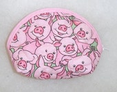 Small Quilted Purse - Pink Pigs