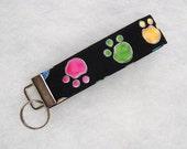 Key Fob wristlet - Colored pawprints on black 2