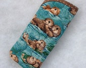 Quilted Sunglass/Eyeglass Case - Otters