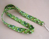 Tennis on green - handmade fabric lanyard