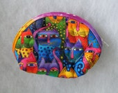 Small Quilted Purse - Laurel Burch feline faces