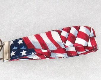 Key Fob wristlet - American Flag print
