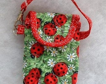 Quilted Cell Phone cover - Ladybugs large