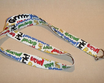 Dog talk - handmade fabric lanyard