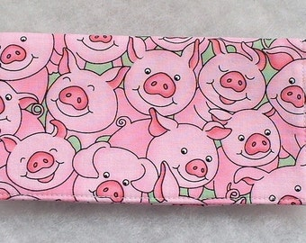 Checkbook Cover - Pink Pigs with green background