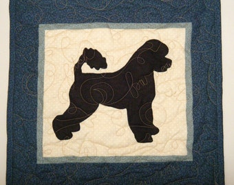 SALE-- Portuguese Water Dog - Quilted Mini Dog Wall Hanging 16.5 x 16