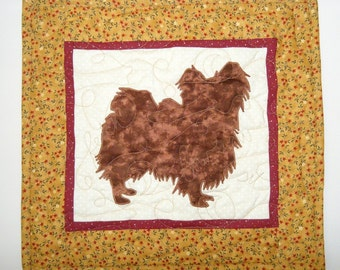 SALE ---Papillon - Quilted Mini Dog Wall Hanging 16 x 14.5