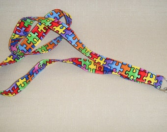 Colorful puzzle pieces - handmade fabric lanyard